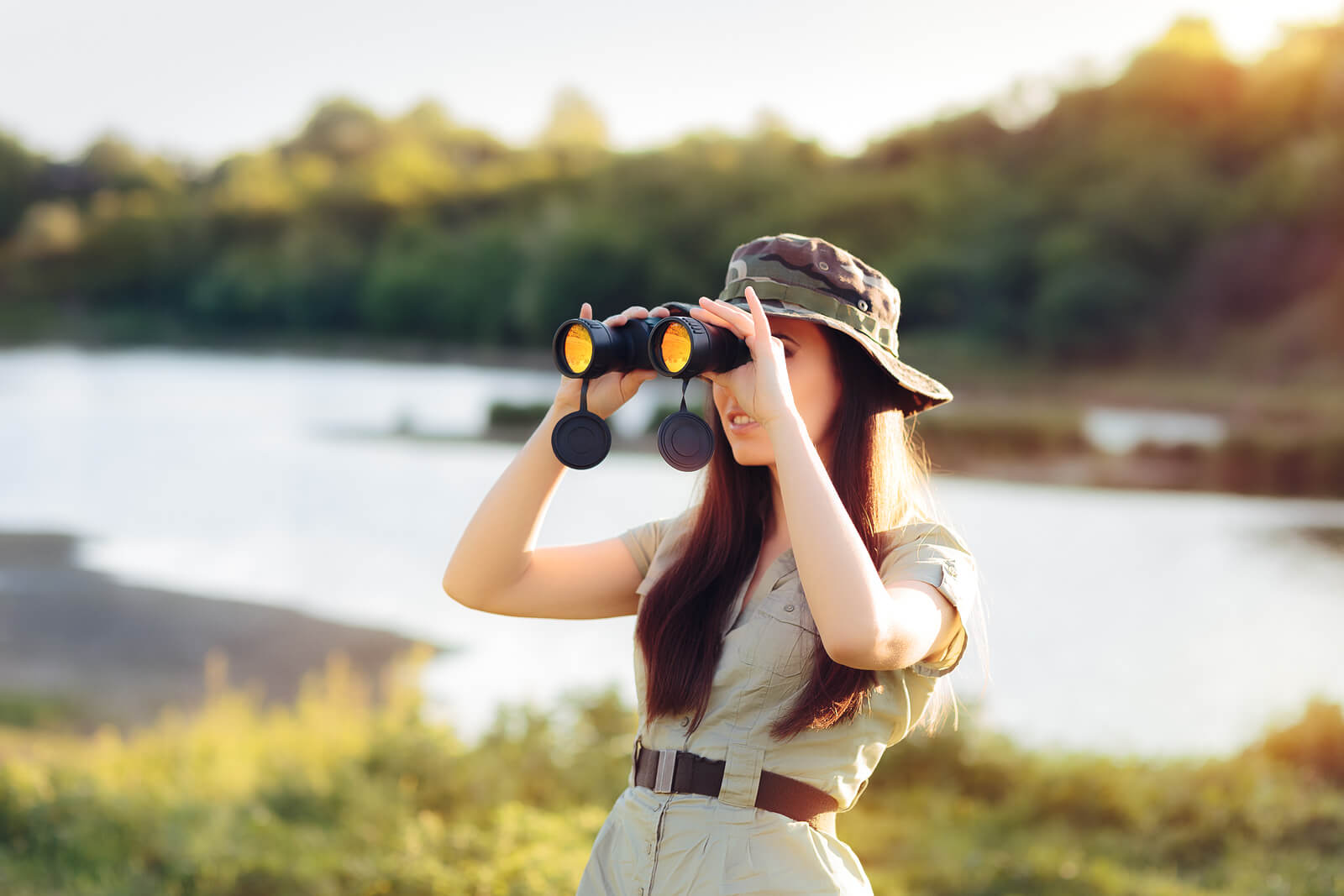 Explorer Girl with Camouflage Hat and Binoculars